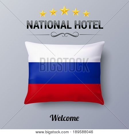 Realistic Pillow and Flag of Russian Federation as Symbol National Hotel. Flag Pillow Cover with Russian flag