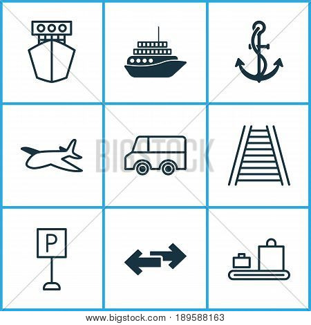 Vehicle Icons Set. Collection Of Anchor, Roadsign, Lorry And Other Elements. Also Includes Symbols Such As Travel, Ship, Airplane.