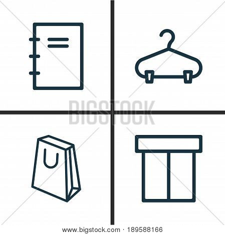 E-Commerce Icons Set. Collection Of Box, Peg, Handbag Elements. Also Includes Symbols Such As Box, Notebook, Packet.