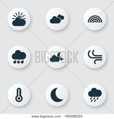 Weather Icons Set. Collection Of Breeze, Moonlight, Colors And Other Elements. Also Includes Symbols Such As Sunlight, Wet, Night.