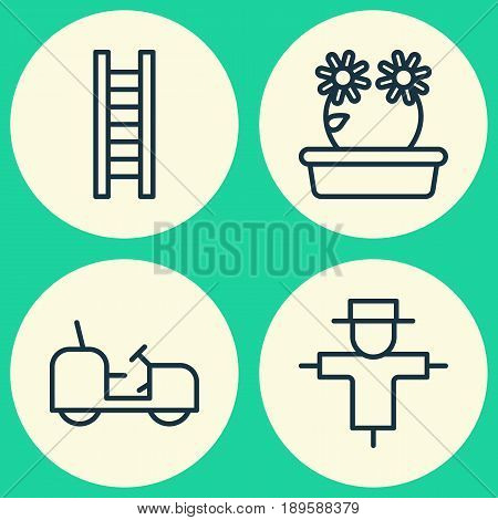 Garden Icons Set. Collection Of Bugbear, Agrimotor, Floweret And Other Elements. Also Includes Symbols Such As Bugbear, Flower, Step.
