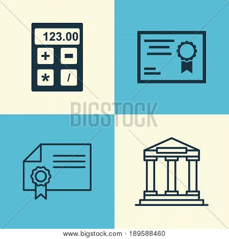 Education Icons Set. Collection Of Diploma, Electronic Tool, College And Other Elements. Also Includes Symbols Such As Diploma, Calculator, Academy.