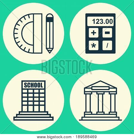 School Icons Set. Collection Of College, Electronic Tool, Academy And Other Elements. Also Includes Symbols Such As Study, Academy, Tools.