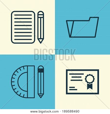 Education Icons Set. Collection Of Education Tools, Certificate, Home Work And Other Elements. Also Includes Symbols Such As Learn, Folder, Document.