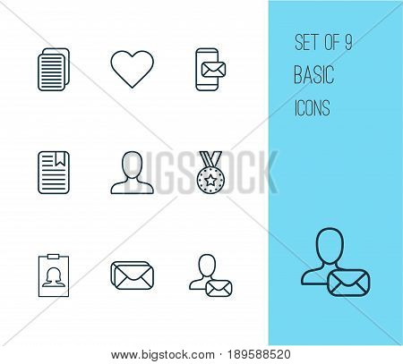 Communication Icons Set. Collection Of Badge, Internet Site, Phone Messaging And Other Elements. Also Includes Symbols Such As Postbox, Medal, Award.