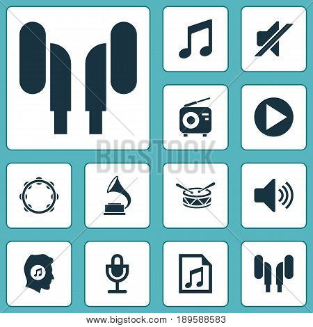 Multimedia Icons Set. Collection Of Tuner, Earmuff, Music And Other Elements. Also Includes Symbols Such As Music, Button, Volume.