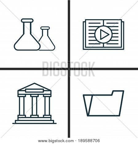 School Icons Set. Collection Of College, Taped Book, Document Case And Other Elements. Also Includes Symbols Such As Flask, Taped, Audio.