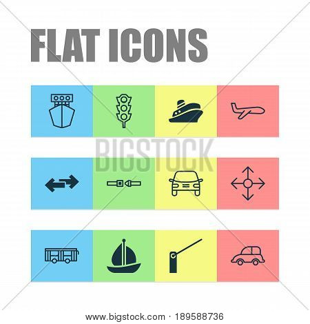 Delivery Icons Set. Collection Of Ship, Vehicle, Stoplight And Other Elements. Also Includes Symbols Such As Protection, Shipping, Transport.
