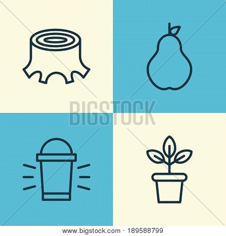 Garden Icons Set. Collection Of Duchess, Tree Stub, Hang Lamp And Other Elements. Also Includes Symbols Such As Tree, Stub, Flower.