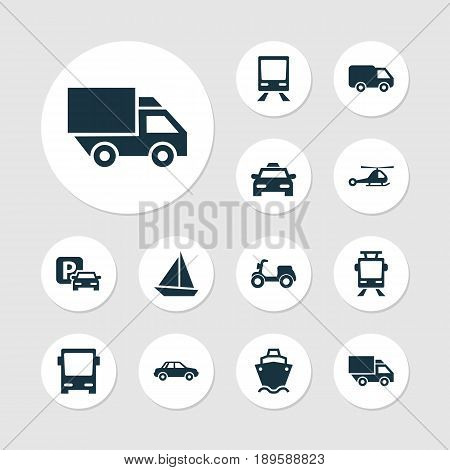 Transport Icons Set. Collection Of Streetcar, Omnibus, Road Sign And Other Elements. Also Includes Symbols Such As Yacht, Taxi, Truck.