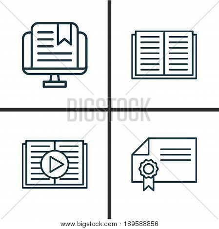 School Icons Set. Collection Of Diploma, Taped Book, E-Study And Other Elements. Also Includes Symbols Such As Audio, Learning, Literature.