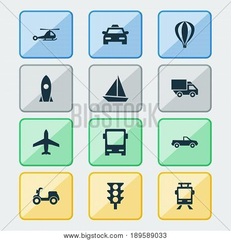 Shipment Icons Set. Collection Of Streetcar, Stoplight, Airship And Other Elements. Also Includes Symbols Such As Yacht, Van, Car.