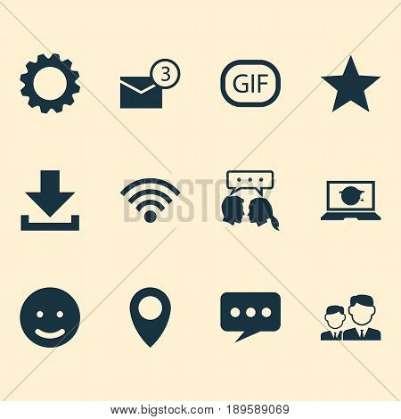 Media Icons Set. Collection Of Star, Smile, Gif Sticker And Other Elements. Also Includes Symbols Such As Message, Face, Pin.