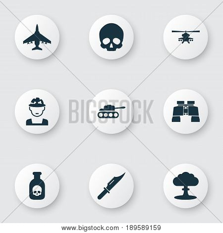 Army Icons Set. Collection Of Atom, Cranium, Aircraft And Other Elements. Also Includes Symbols Such As Scalper, Oficer, Helicopter.