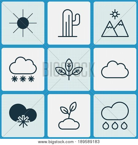Nature Icons Set. Collection Of Cactus, Cloud, Cold Climate And Other Elements. Also Includes Symbols Such As Plant, Snowflake, Branch.