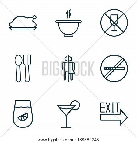 Restaurant Icons Set. Collection Of Alcohol Forbid, Lemonade, Stop Smoke And Other Elements. Also Includes Symbols Such As Outlet, Bowl, Drinking.