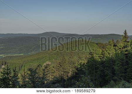 View in Rychlebske mountains in spring sunny nice evening