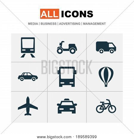 Transport Icons Set. Collection Of Cab, Skooter, Aircraft And Other Elements. Also Includes Symbols Such As Omnibus, Railway, Air.