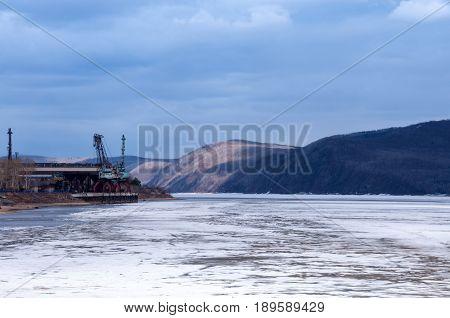 Amur River Under The Ice, Embankment Of Komsomolsk-on-amur
