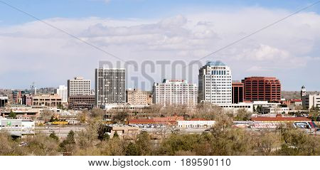 COLORADO SPRINGS COLORADO/UNITED STATES - APRIL 20: Downtown urban city skyline on a cold winter say 04/20/215 in Colorado Springs.