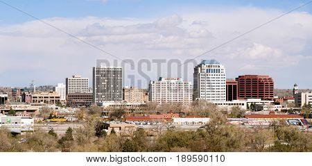 COLORADO SPRINGS COLORADO/UNITED STATES - APRIL 20: Downtown urban city skyline on a cold winter say 04/20/215 in Colorado Springs.
