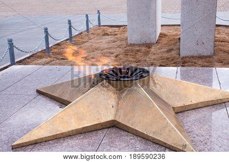 Russia, Komsomolsk-on-Amur, April 21: Eternal flame in the city of Komsomolsk-on-Amur