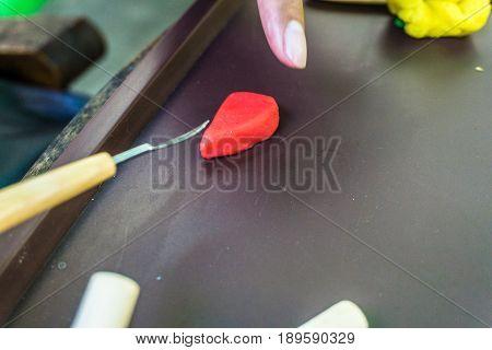 hand sculp carving a plasticine handmade photo taken in depok bogor indonesia java