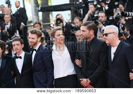 Robin Campillo, Adele Haenel and Arnaud Valois attend the Closing Ceremony during the 70th annual Cannes Film Festival at Palais des Festivals on May 28, 2017 in Cannes, France.