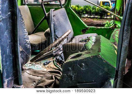 rusty steering bus wreckage abandon photo taken in jakarta indonesia java