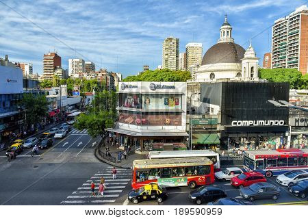 Buenos Aires Argentina - 17 Mar 2016: Aerial daytime view of the Cabildo Avenue and dome of the Parish of the Immaculate Conception with traffic.