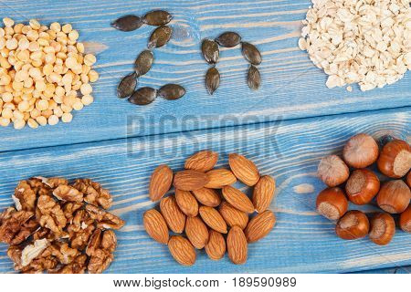 Products Or Ingredients Containing Zinc And Dietary Fiber, Concept Of Healthy Nutrition