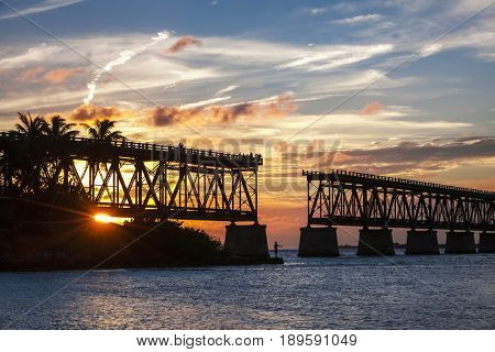Sunset view of historic Rail Bridge at Bahia Honda state park in Florida Keys, USA.