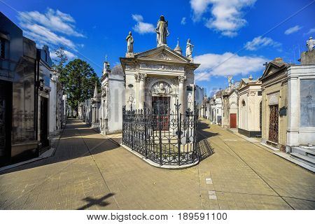 Buenos Aires Argentina - Sept 23 2016: View of tombs at the La Recoleta Cemetery in Capital Federal.