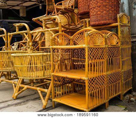 bamboo rotan rattan handmade traditional object handicrafts stack in lenteng agung jakarta indonesia java