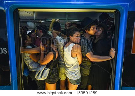 Buenos Aires Argentina - April 1 2017: Passengers standing in a train carriage during a rush hour at the Belgrano C station.