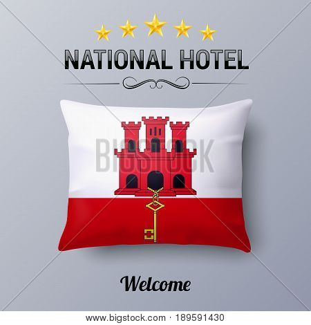 Realistic Pillow and Flag of Gibraltar as Symbol National Hotel. Flag Pillow Cover with flag design