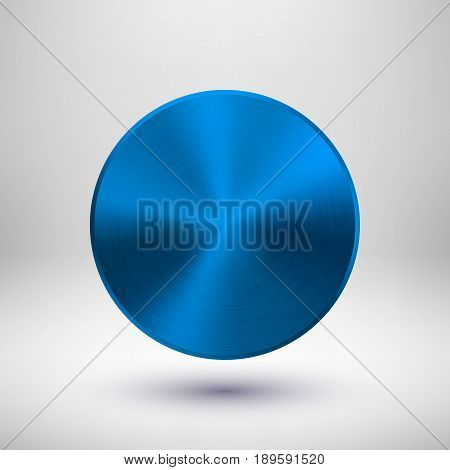 Blue metal circle badge, blank button template with metallic texture, chrome, silver, steel and realistic shadow and light background for logo, design concepts, web, apps. Vector illustration.