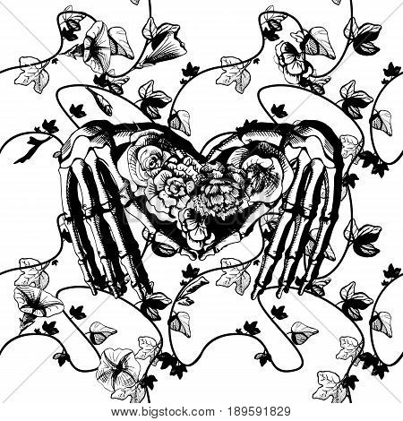 Vector illustration of a skeleton hands making heart surrounded and covered with plants and flowers. Vintage engraving style black and white good for silk screen printing