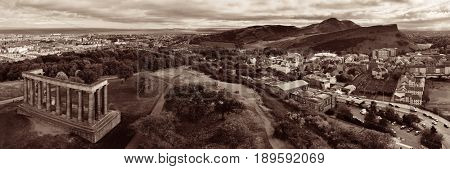 Edinburgh city skyline panorama viewed from Calton Hill. United Kingdom.