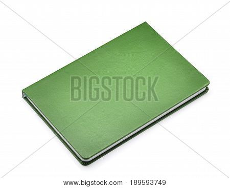green notebook isolated on the whtie background