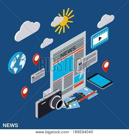 Newscast, information, journalism, mass media flat 3d isometric illustration