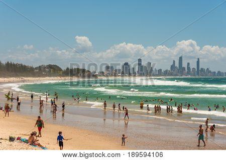 Burleigh Beach At Coolangata With Gold Coast Cityscape