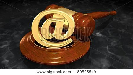 Email Symbol Law Concept 3D Illustration