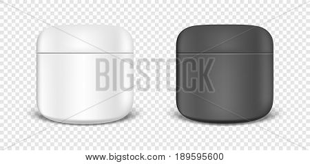 White and black cream jar icon set. Design template closeup in EPS10 vector. Mock-up for branding and advertise.
