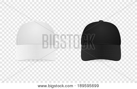 White and black baseball cap icon set. Front view. Design template closeup in EPS10 vector. Mock-up for branding and advertise isolated on transparent background.