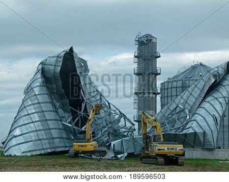 FT. BRANCH, IN/USA - MARCH 1:  Aftermath of Feb. 28th tornado.  One county in So. Illinois and four counties in So. Indiana were affected by this tornado.  Giant grain bins destroyed during storm.  March 1. 2017