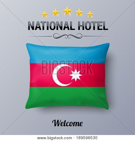 Realistic Pillow and Flag of Azerbaijan as Symbol National Hotel. Flag Pillow Cover with Azerbaijanian flag