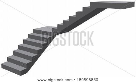 Industrial fragment of L-stairs without railings. Vector illustration.