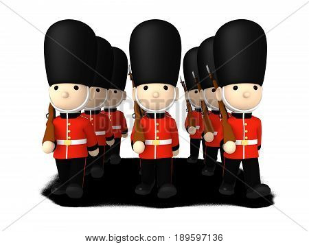 Queen's Guard in traditional uniform with gun, British soldiers on white, 3D illustration