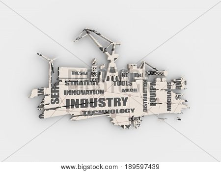 Energy and Power icons set and grunge brush stroke. Energy generation and heavy industry relative image. 3D rendering.